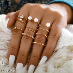Western Simple Ring Set Pearl and Diamond Open Ring 8pcs Joint Ring Tail Ring