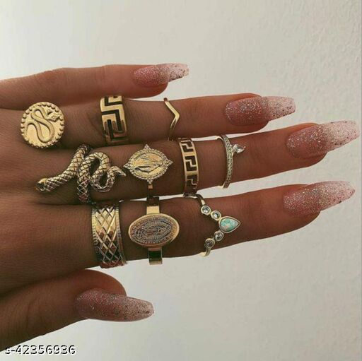 Creative Vintage Characters with Diamonds Snake Ring 10pcs Set