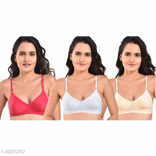 Bra  Classy Cotton Blend Women Bra(Pack Of 3) Fabric: Cotton Blend Sleeves: Sleeves Are Not Included  Size: 30B: Cup Size - Underbust - 25 in To 26 in Overbust - 31 in To 32 in 32B: Cup Size - Underbust - 27 in To 28 in Overbust - 33 in To 34 in 34B: Cup Size - Underbust - 29 in To 30 in Overbust - 35 in To 36 in 36B: Cup Size - Underbust - 31 in To 32 in Overbust - 37 in To 38 i 38B: Cup Size - Underbust - 33 in To 34.5 in Overbust - 39 in To 40 in 40B: Cup Size - Underbust - 35 in To 36 in Overbust - 41 in To 42 in  Description: It Has 3 Pieces Of Women's Bra Pattern: Solid Country of Origin: India Sizes Available: 40B, 30B, 32B, 34B, 36B, 38B   Catalog Rating: ★3.8 (13)  Catalog Name: Stylish Classy Cotton Blend Women Bra Vo 1 CatalogID_605825 C76-SC1041 Code: 393-4235787-