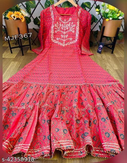 Women Printed Rayon kurta with heavy handwork and gota lace detailing