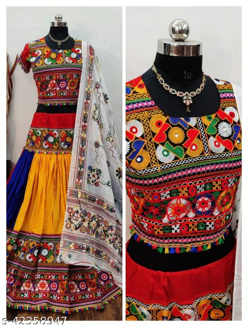 NEW DESIGNER NAVRATRI SPECIAL EMBROIDERY CHEN STIS WORK WITH REYAL MIRROR WORK WITH STITCHED  AND DIGITAL PRINTED LAHENGA