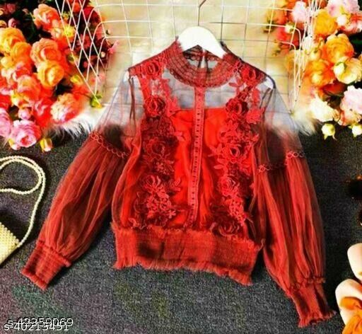 Sexy Lantern Sleeve 3D Floral Women Tops With Inner