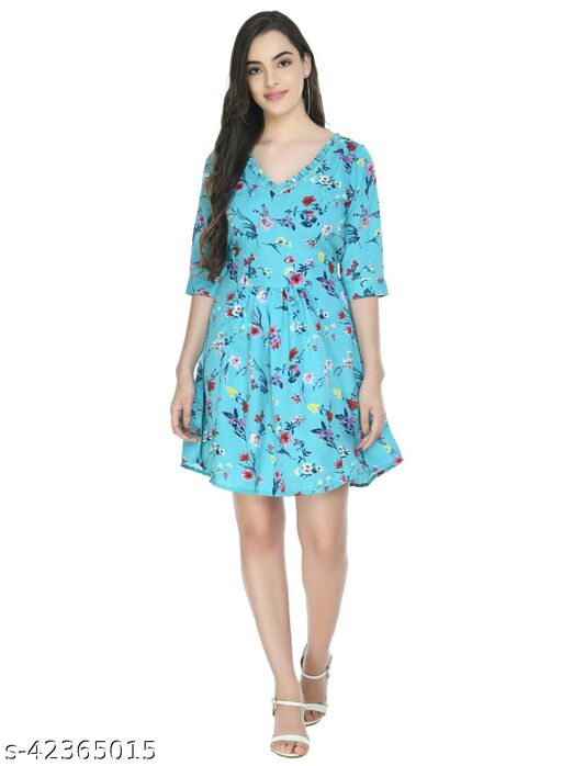 A N Women's Crepe Light Blue Printed Pleated Mini Dress