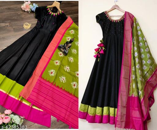 Laxmikantam Creation Embroidered Slub Cotton Stitched Black Gown with Parrot Green Dupatta