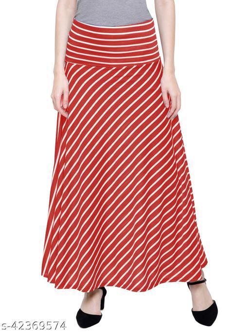 DAMEN MODE Women Stripe Elegant Skirt  Red