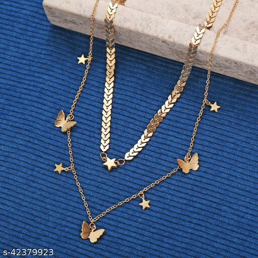 Fashion Multi-layer Butterfly Necklace Exquisite Hollowed Out Pendant