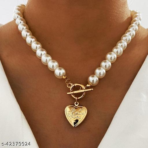 Pearl Necklace  Creative Retro Simple Heart Pendant Women Necklace