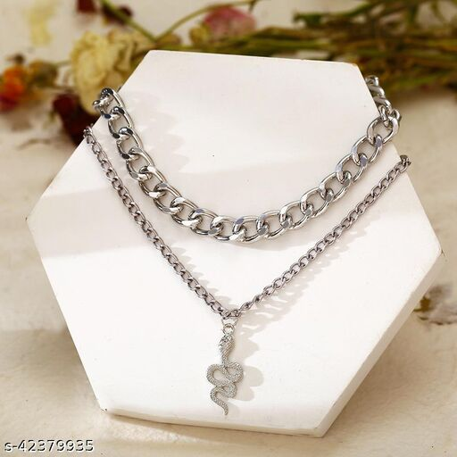 Silver Plated Snake Pendant and Punk Double Clavicle Chain Necklace for Women
