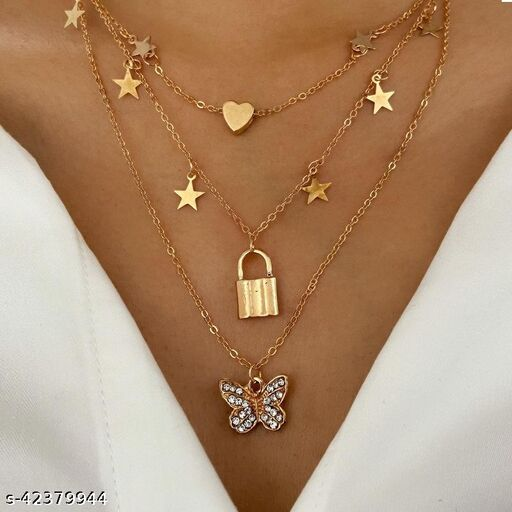 Gold Diamond Butterfly Pendant Necklace with Multi-layer Clavicle Chain