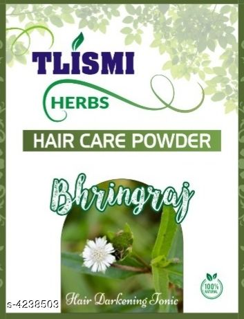 Hair Care Tlismi Hair Care Powder  *Product Name* Tlismi Herbs - Bhringraj (Hair Care Powder)  *Brand Name * Jinisha  *Product Type* Hair Care Powder  *Capacity* 100 gm  *Package Contains* It Has 1 Pack Of Hair Care Powder  *Sizes Available* Free Size *    Catalog Name: Hair  Tlismi Hair Care Powders Vol 2 CatalogID_606316 C50-SC1249 Code: 431-4238503-