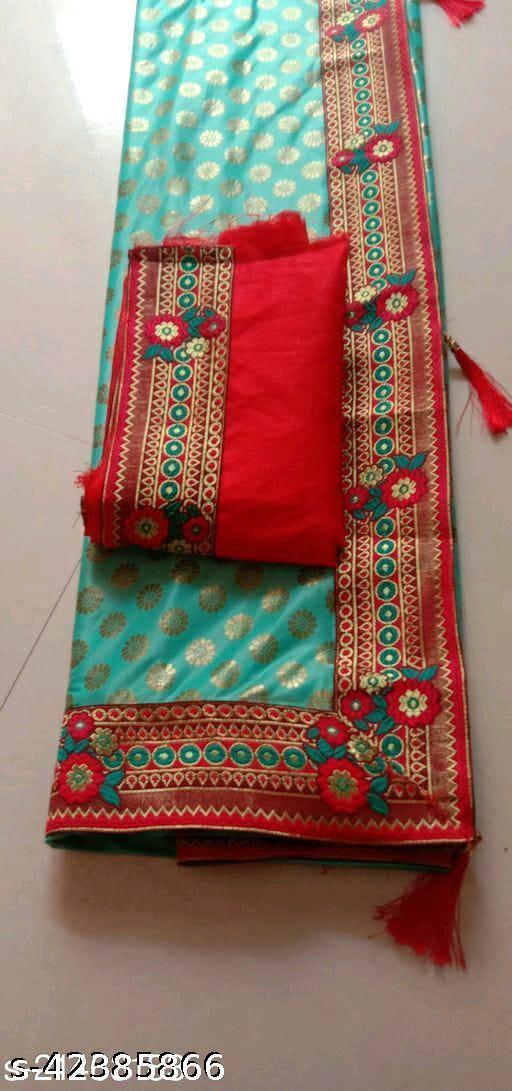 red rama lace rama  Saree