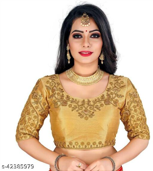 Fab Fort Designer Silk Gold Color Embroidery Ready made Blouse Piece