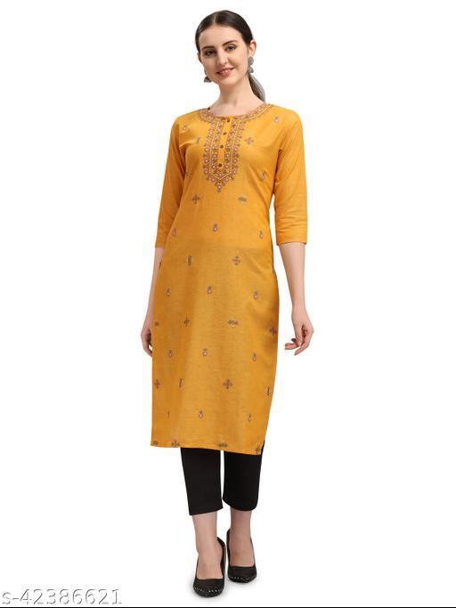 Desimode By 100 Miles Embroidered Yellow Cotton Straight Kurta