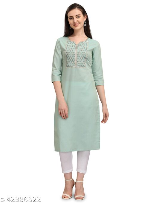 Desimode By 100 Miles Embroidered Mint Green Cotton Straight Kurta