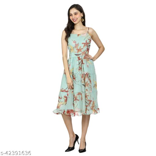 Chiffon Floral Fit & Flare   Midi   Knee Length   Dress for Girls/Women