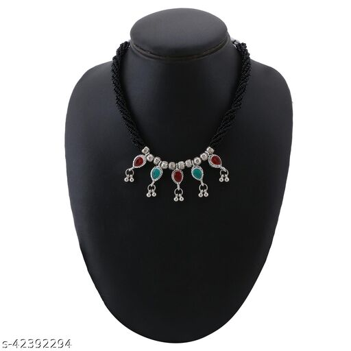 Traditional Oxidised Silver Plated Latest Stylish Designer Adjustable Thushi Neckalace and chain