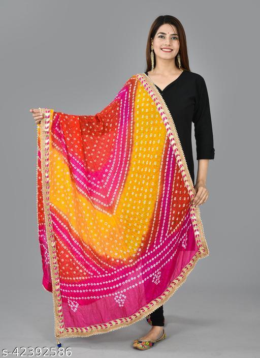 Bandhani Silk Printed Bandhej Gota Patti Lace Border Work Dupatta 2.25M ( Free Size )