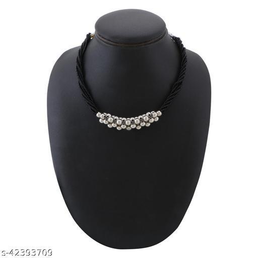 Traditional Oxidised Silver Plated Latest Stylish Designer Adjustable Thushi Mangalsutra
