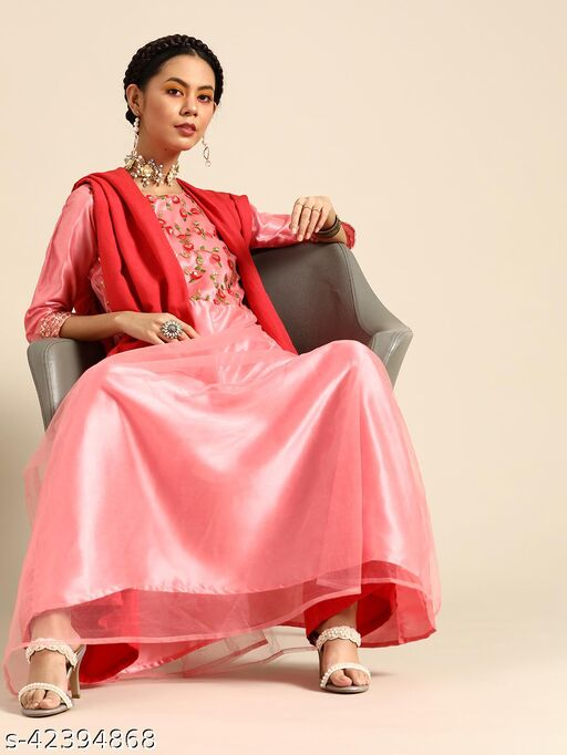 Pink Net Anarkali With Thread Embroidery