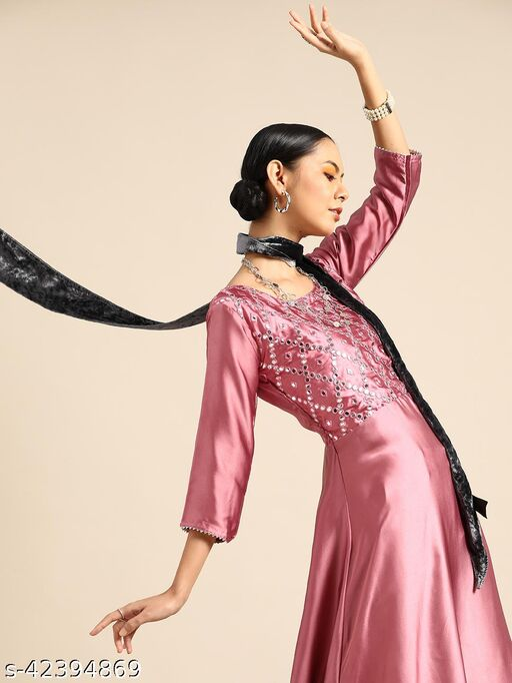 Onion Pink Satin Anarkali With Mirror Work