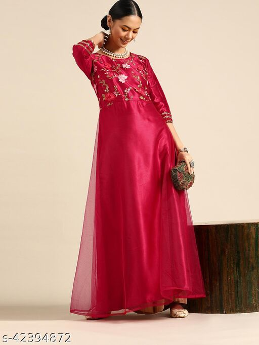 Magenta Net Anarkali With Thread Embroidery