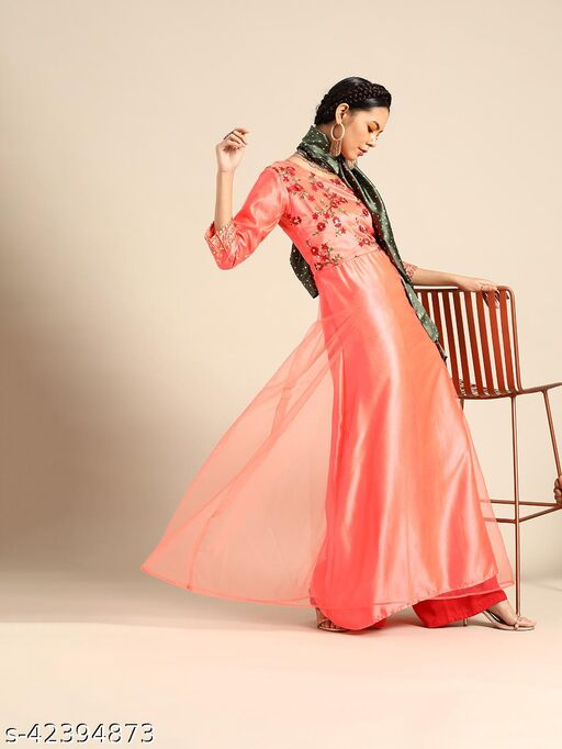 Peach Net Anarkali With Thread Embroidery