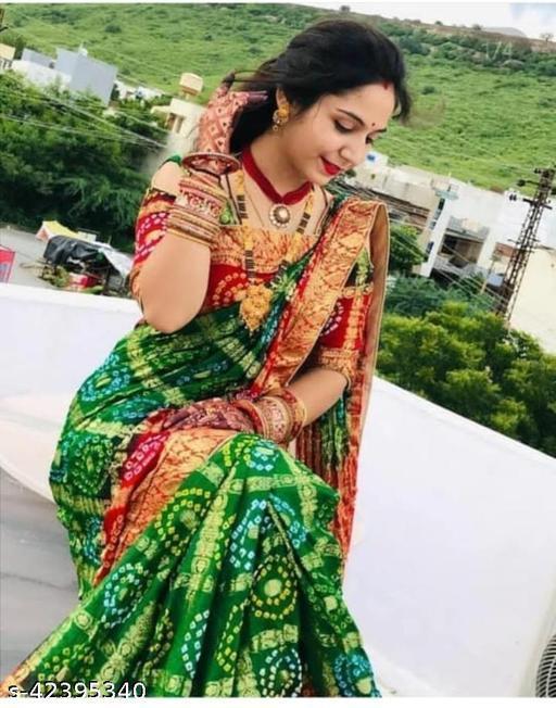 Bandhani Golden Zari Gharchola Saree