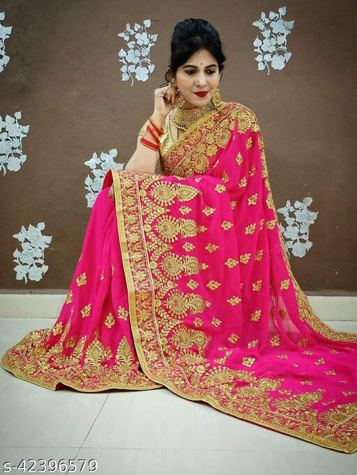 Georgette With Heavy  Embroidered  Work Saree