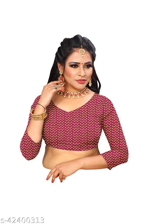 Trendy Attractive Fabulous Kalamkari Brocade Gold Zari Unstiched 1 Mtr Blouse Piece