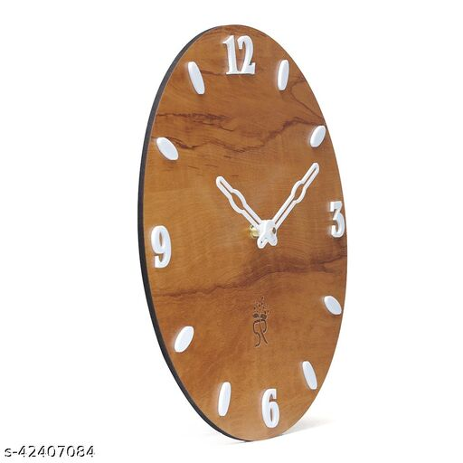 Wooden Vinyl MDF Wall Clock, Fancy Big Size Latest Antique Design Stylish Ticking Movement Clock - No Glass 12-inch for Home/Kitchen/Living Room/Bedroom/Office.