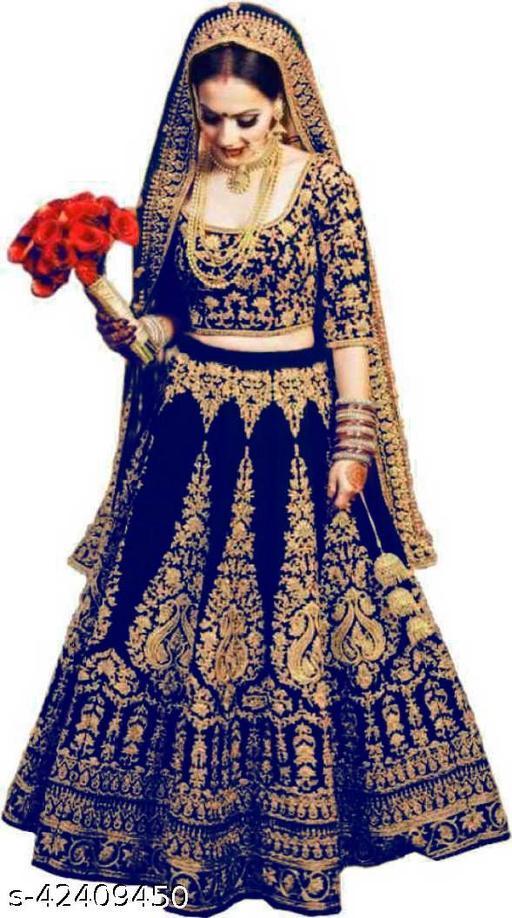 KV Fashion Women's Velvet Semi Stitched Lehenga Choli ( LIZZA-BLUE-LEHENGA)