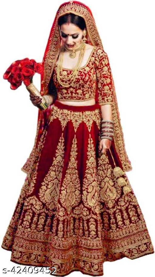 KV Fashion Women's Velvet Semi Stitched Lehenga Choli ( LIZZA-RED-LEHENGA)