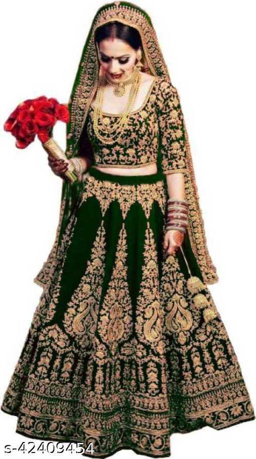 KV Fashion Women's Velvet Semi Stitched Lehenga Choli ( LIZZA-Green-LEHENGA)