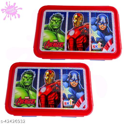 Marvel Avengers Lunch Box- Blue Color 2 Containers for kids.
