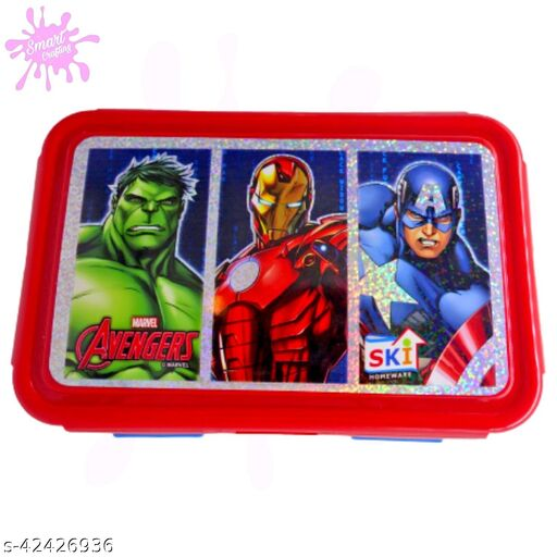 AVENGER BLUE Lunch Box 2 Containers Lunch Box Birthday Return Gifts for Kids Lunch Set.