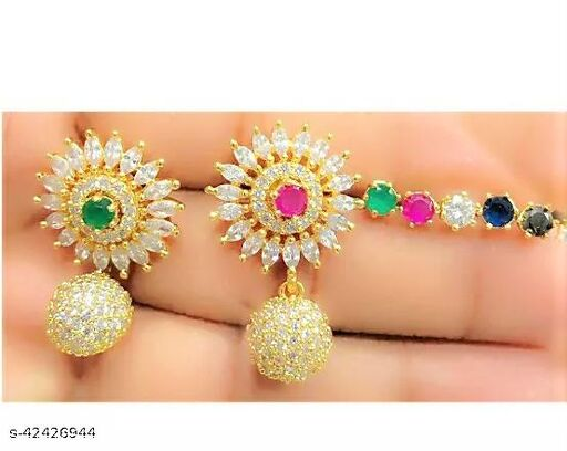 Classic AD/American Diamond Studded  Gold Plated Changeble  Earrings  for Women & Girls