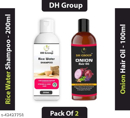 DH GROUP RICE WATER SHAMPOO & ONIAN HAIR OIL WITH RICE WATER & KERATIN FOR DAMAGED DRY & FRIZZY HAIR