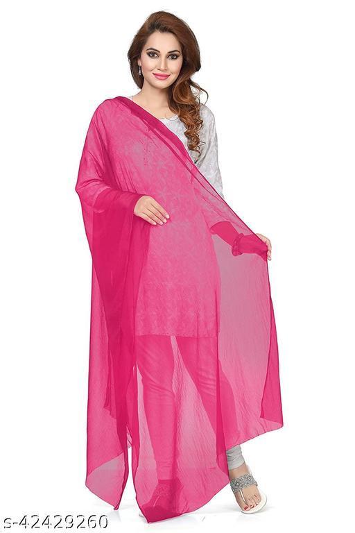 ASHA Women's Chiffon Dupatta Fuchsia Stole Scarf Headwrap Hijab Wrap Scarf