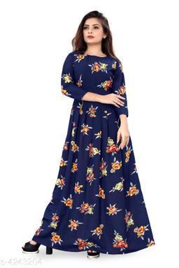 Trendy Crepe Printed Women's Gown