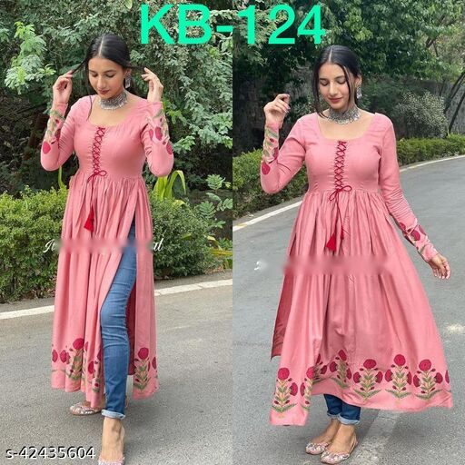LATEST SLIT KURTI HANDCRAFTED IN COMFIEST SUMMER FABRIC AND BEAUTIFUL DETAILING WITH DORI WORK ON YOKE