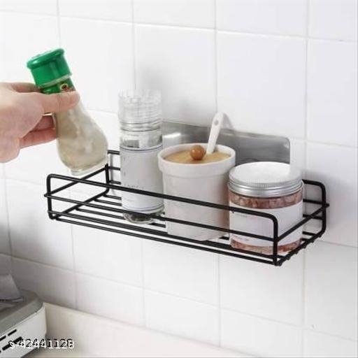 Cipher Shops Metal Multipurpose Kitchen Bathroom Shelf Steel Wall Shelf  (Number of Shelves - 1, Black)