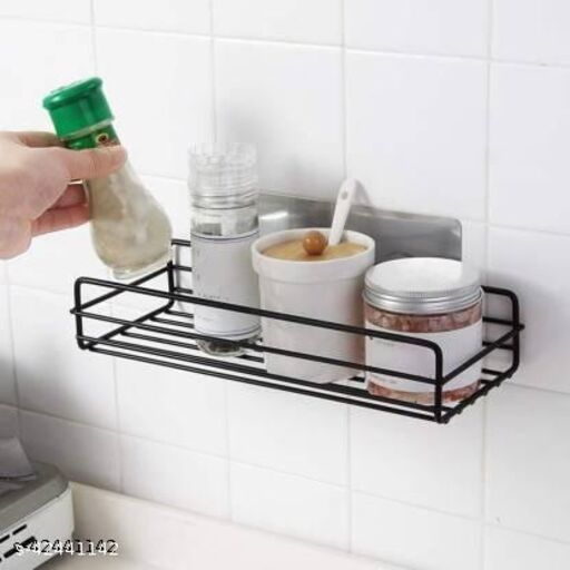 Offlic Metal Multipurpose Kitchen Bathroom Shelf Steel Wall Shelf  (Number of Shelves - 1, Black)