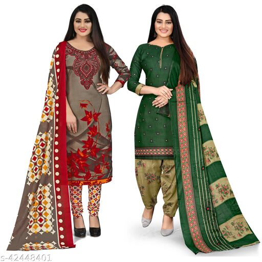 Rajnandini Olive Green And Green Cotton Printed Unstitched Salwar Suit Material (Combo of 2)