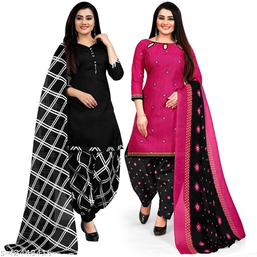 Rajnandini Black And Magenta Cotton Printed Unstitched Salwar Suit Material (Combo of 2)