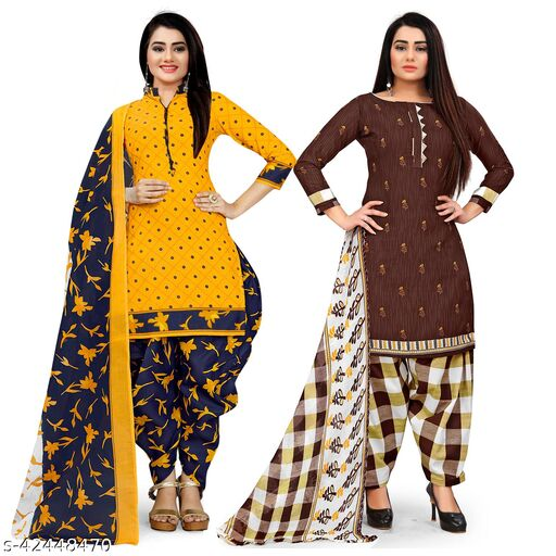 Rajnandini Yellow And Brown Cotton Printed Unstitched Salwar Suit Material (Combo of 2)