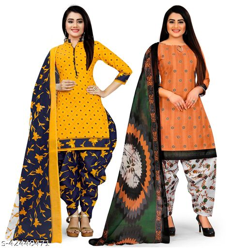 Rajnandini Yellow And Orange Cotton Printed Unstitched Salwar Suit Material (Combo of 2)
