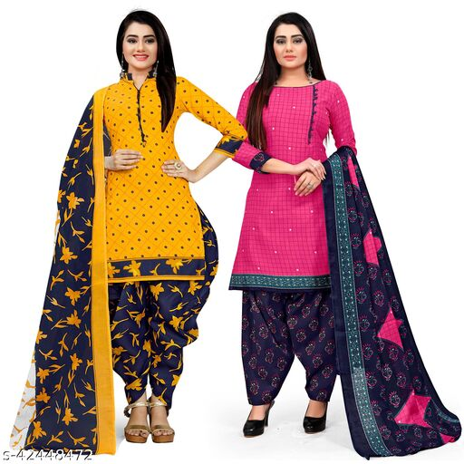 Rajnandini Yellow And Magenta Cotton Printed Unstitched Salwar Suit Material (Combo of 2)