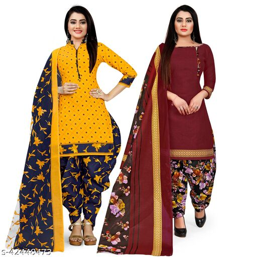 Rajnandini Yellow And Maroon Cotton Printed Unstitched Salwar Suit Material (Combo of 2)