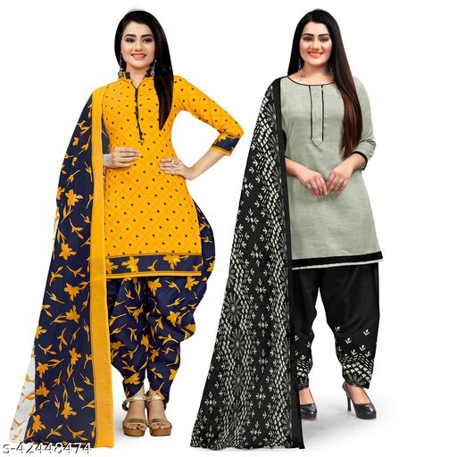 Rajnandini Yellow And Grey Cotton Printed Unstitched Salwar Suit Material (Combo of 2)