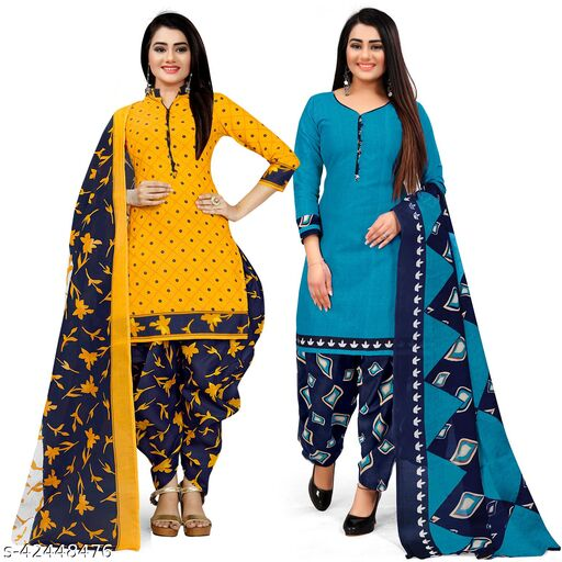 Rajnandini Yellow And Sky Blue Cotton Printed Unstitched Salwar Suit Material (Combo of 2)